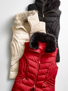 Tis the season of layering and a chic fashion vest with cozy down and feather fill is a closet staple. The gorgeous faux-fur collar even has a detachable element, so you can easily style this layer, whether dressed up or down. | Talbots