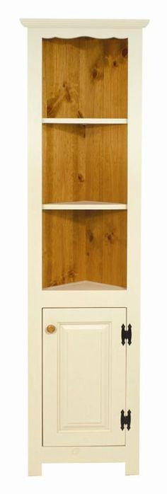 Amish Pine Small Corner Hutch Cupboard