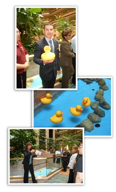 "Quack Me at My Best.* Embassy Suites Irvine – Orange County Airport, CA, places rubber ducks in their fountains. Throughout the week, the hotel awards ""Duck Catch Me cards."" The Team Member with the most cards gets to ""fish"" for a rubber duck, and wins a prize that corresponds with the number on the bottom of the duck."
