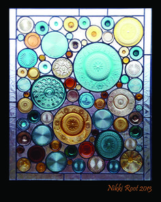 A client commissioned panel by Nikki Root - Recycled stained glass artist. Made using vintage depression glass cups, plates, and bottle bottoms. I'm lovin' all the different textures!