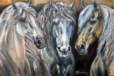 Odette Butz never uses projectors for her paintings. It is all done by eye, hand and heart. Here 3 lusitanos stallion, acrylic, 80 x 120 cm