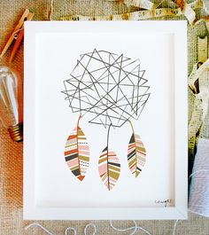 caught art print 8 x 10 deconstructed dreamcatcher by littlelow, $15.00