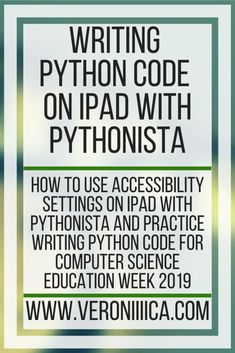 Writing Python Code on iPad With Pythonista. How to use accessibility settings on iPad with Pythonista and practice writing Python code for Computer Science Education Week 2019 Education Week, Preschool Special Education, Science Education, Writing Code, Writing Practice, Writing Tips, Technology Tools, Assistive Technology, Educational Technology