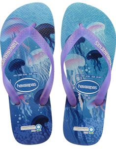 Taking a step to protect our planet is simple and fun in our Conservation International style. Available in 3 ocean-inspired prints. We will contribute 7% of proceeds to the foundation who aims to protect our world's natural resources. Thong style Cushioned footbed with textured rice pattern and rubber flip flop sole Made in Brazil
