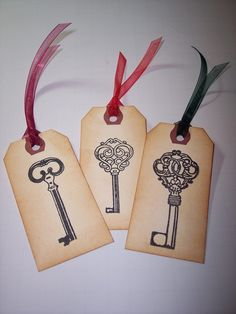 Keys Hand Stamped Tags set of 6 by mreguera on Etsy, $4.00