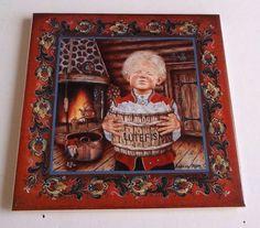 Norwegian Tile Trivet Decorative Rosemaling Lutefisk Boy Suzanne Toftey 6x6 #BergquistImports