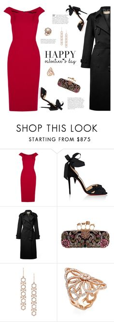 """Valentine's Day!"" by fashionbrownies ❤ liked on Polyvore featuring Roland Mouret, Christian Louboutin, Burberry, Alexander McQueen, Astley Clarke, Nephora and Bloomingdale's"