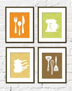 Nice Kitchen Artwork Print Set   CrissCross Kitchen Set Of 4  11x14 Inches,  Choose Colors