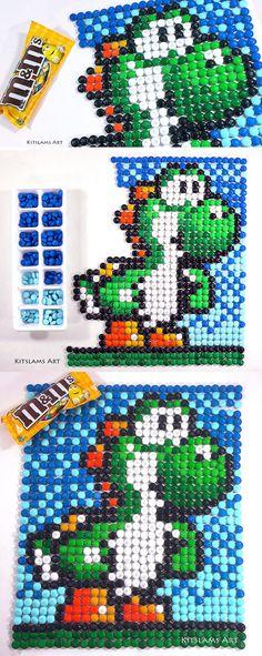 Pixel Art YOSHI - Pixel artist uses M&M candy to create Yoshi pixel art. Art Projects For Teens, Cool Art Projects, Art Activities For Kids, Art For Kids, Legend Of Zelda, Yoshi Drawing, Pixel Art Templates, Pixel Art Games, Candy Art