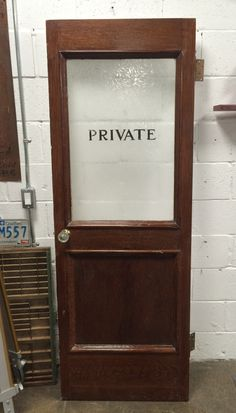 """Vintage Frosted Etched Glass Inset """"Private"""" Oak Door with Glass Knobs"""
