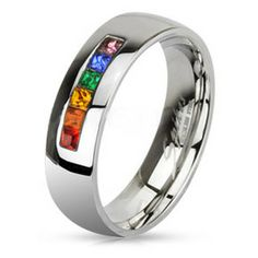 cf83c05212 Rainbow String Smooth Round Top Ring - Lesbian and Gay Wedding Ring  Marriage $25 Wedding Ring