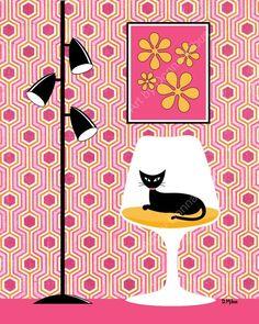 Mid Century Modern Cat Art Prints (Page of Mid Century Modern Art, Mid Century Art, Wall Art Decor, Wall Art Prints, Canvas Prints, Cat Prints, Cat Decor, Illustrations, Illustration Art