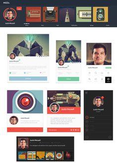 7 Free PSD Profile UI, #Buttons, #Flat, #Free, #Icon, #Profile, #PSD, #Resource, #UI