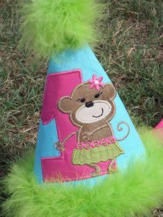 Custom Luau Dancing Monkey Birthday Hat with Number on Etsy, $24.00