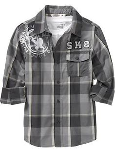 Boys Plaid Skater-Graphic Shirts.  This is a great shirt.  Love the charcoal.