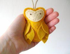 Felt Owl Decor Ornament Yellow Door Knob Hanger by OrdinaryMommy, $25.00
