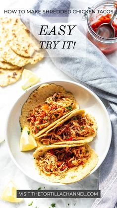 Get your Instant Pot, Crockpot or Dutch oven out of the cupboard and get cooking with this easy shredded chicken tacos with taco seasoning recipe. Made with salsa and taco seasoning. Prep is done in 5 minutes to prepare this delicious dinner. Serve with your favorite tortillas. Want to try shredded chicken tacos? Visit thetortillachannel.com for the full recipe. Crockpot Shredded Chicken Tacos, Mexican Shredded Chicken, Shredded Chicken Recipes, Make Almond Flour, Taco Ingredients, Recipe Tin, Seasoning Recipe, Taco Seasoning, The Best