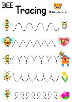 Bee Game - Free Tracing Printables Preschool Handwriting Practice | 123 Kids Fun Apps