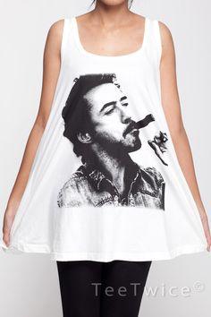 Robert Downey Jr T Shirt Dress Iron Man Smoking Top Women Shirts White Tunic T-Shirt Sleeveless Vest Mini Dresses Size M L