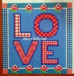 LOVE - Valentine's Day hama perler beads by Deco. Pearler Bead Patterns, Pearler Beads, Fuse Beads, Bead Crafts, Fun Crafts, Dragons, Love Valentines, Valentine Ideas, Beading Patterns
