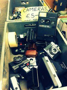 Vintage cameras at the flea market in Berlin. Interrailling Europe 2012