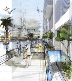 Tim Keepers, USF School of Architecture, Class of 2010  Waterfront Rendering - Mixed Media