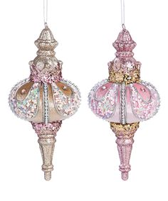 Look what I found on #zulily! Blush Ornate Finial Ornament - Set of Two by Evergreen #zulilyfinds