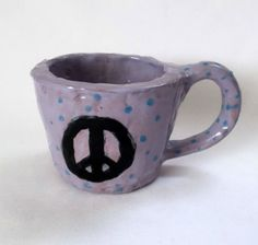Peace Sign Mug Purple Blue Glazed Stoneware Pottery Coffee Cup Artist Signed #Handmade