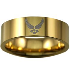 Gold US Air Force Tungsten Ring Made of Tungsten Carbide - one of the toughest & strongest of metals known to man. With extreme durability & scratch-resistant properties, perfect for the active and bu