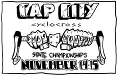 """matt lolli cap city cyclocross illustration  Illustration for Ohio State Championship Cyclocross race weekend. Project parameters were to create something """"bold"""", """"graphic"""", & """"black & white"""". The rest was left up to me. Final image was used on shirts & musette bags sold during the event weekend. #capcity #crapshitty #cyclocross #poster #shirtdesign #pma #nojerks #handdrawntype"""