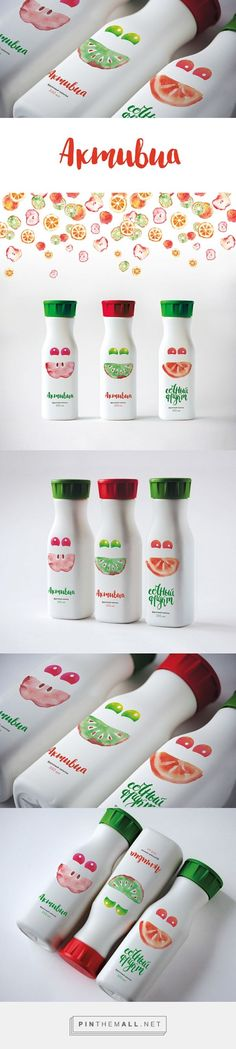 Fruit drink – Beverages – Package Inspiration Bright bottle caps and minimal colors actually make the bottle design pop. The designs of the different flavors complement each other as well. Healthy Fruit Smoothies, Fruit Drinks, Fruit Cups, Beverages, Kids Packaging, Fruit Packaging, Beverage Packaging, Plastic Packaging, Pretty Packaging