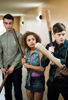 Misfits - This doesn't look at all dodgy, clearly its a baseball game.......indoors.