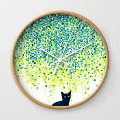 Buy Cat in the garden under willow tree Wall Clock by budikwan. Worldwide shipping available at Society6.com. Just one of millions of high quality products available.