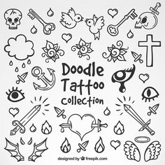 Selection of doodle tattoos Free Vector - Avize Club Doodle Tattoo, Poke Tattoo, Doodle Drawings, Notebook Doodles, Doodle Art Journals, Tattoo Sketches, Tattoo Drawings, Bild Tattoos, Tattoo Flash Art