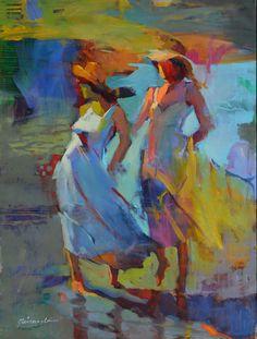 www.codagallery.com   Sea Breeze by Michael Steirnagle   Oil on Canvas #fineart #sundress #onthebeach