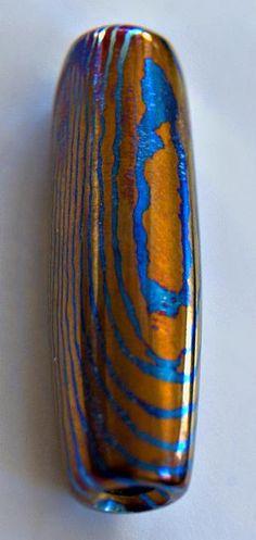 Mokuti Titanium Laminate Bead by Khas9 on Etsy. , via Etsy.