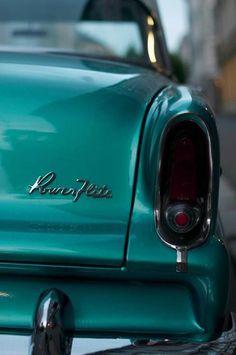 classic turquoise vintage car