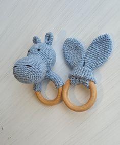 Newborn gift(crochet rattle and teether) Crochet blue hippo Croshet teething toy Cute rattle hippopotamus for girl Montessori baby toys Newborn Toys, Newborn Gifts, Baby Boy Gifts, Gifts For Boys, Newborn Crochet, Crochet Baby, Crochet Gifts, Crochet Toys, Montessori Baby Toys
