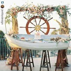 20 Reasons to Have a Nautical Wedding - aka this rustic beachy dessert bar - Inspired By This Wedding Decor Canoe Wedding, Pirate Wedding, Beach Wedding Reception, Seaside Wedding, Wedding Souvenir, Nantucket Wedding, Destination Wedding, Nautical Wedding Inspiration, Nautical Wedding Theme