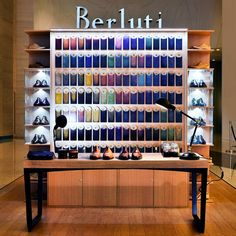 """BERLUTI,IFC MALL, Shanghai, China, """"A color palette of 120 different patinas is available"""", pinned by Ton van der Veer"""