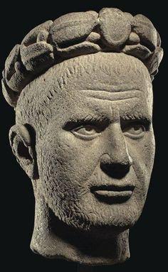 A ROMAN BASALT PORTRAIT HEAD OF THE EMPEROR PHILIP THE ARAB - REIGN 244-249 A.D.