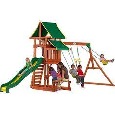 Backyard Swing Set Playground Outdoor Kids Play Metal Fun Gym Cedar Wood Parks | eBay