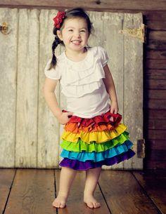 Rainbow ruffle skirt