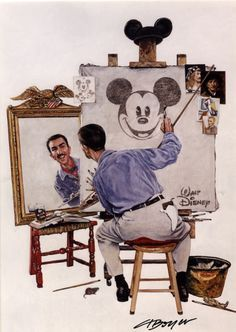 "This is my favorite art of Walt. It's a famous Norman Rockwell ""Self-Portrait"" painting, only instead of Norman Rockwell in the mirror, it's Walt...and of course, his self-portrait is his alter-ego, Mickey."