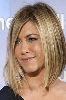 """The Hottest Haircuts Right Now (Voted by Glamour magazine). Hair cut Idea- Jennifer Aniston's """"Lob"""" (long bob). """"It's chic and superflattering thanks to all the length in the front, and it can soften a strong jaw like Jen's or thin out a round face.""""....gonna go for this one day"""
