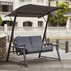 Andover Mills Marquette Glider Porch Swing with Stand Cushion Color: Charcoal Gray Porch Swing With Stand, Pergola Swing, Small Pergola, Pergola Ideas, Landscaping Ideas, Porch Kits, Diy Furniture, Outdoor Furniture, Building A Porch