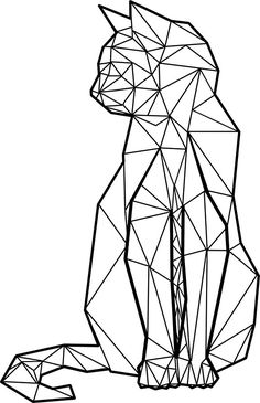 'Geometric Cat' Sticker by Freddie O'Brion Pegatinas «Gato geométrico Origami Tattoo, Diy Tattoo, Tattoo Cat, Tattoo Ideas, Origami Cat, Origami Ideas, Tattoo Designs, Cool Tattoos, Tatoos