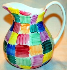 MULTI-COLOR HAND PAINTED 60oz. PORCELAIN WATER PITCHER