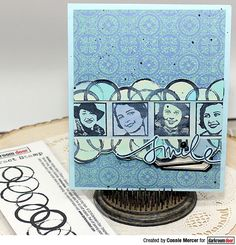 Card by Connie Mercer using Darkroom Door Abstract 02 Stamp, Portrait Inchies Stamp Set and Spanish Tiles Background Stamp Journal Covers, Art Journal Pages, Simple Borders, Printed Pages, Ink Stamps, Some Cards, Card Making, Paper Crafts