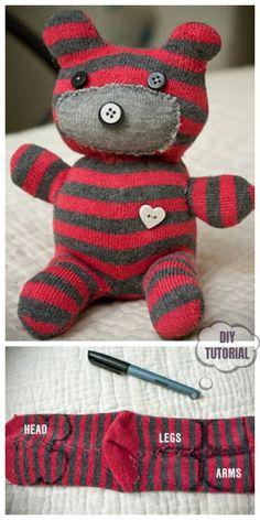 20 Adorable Sock Toys DIY Tutorials You Will Love to Make - DIY Sock Teddy Bear Tutorial baby toys patterns teddy bears 20 Adorable Sock Toys DIY Tutorials You Will Love to Make Diy Sock Toys, Sock Crafts, Fabric Crafts, Fabric Toys Diy, Kids Crafts, Toy Diy, Diy Teddy Bear, Sock Dolls, Baby Mobile